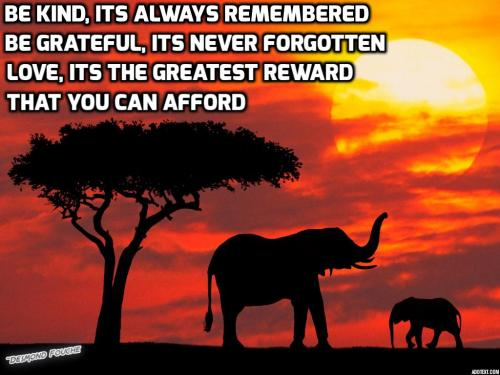 Be Kind, it's always remembered. Be Grateful, it's never forgotten.  Love - it's the greatest reward that you can afford.