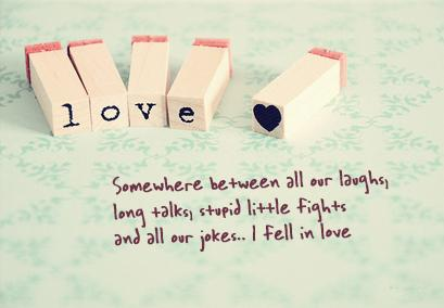 Somewhere between all our laughs, long talks, stupid little fights and all our jokes.. I fell in love.
