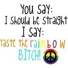 You say I should be straight, I say taste the rainbow! bitch!