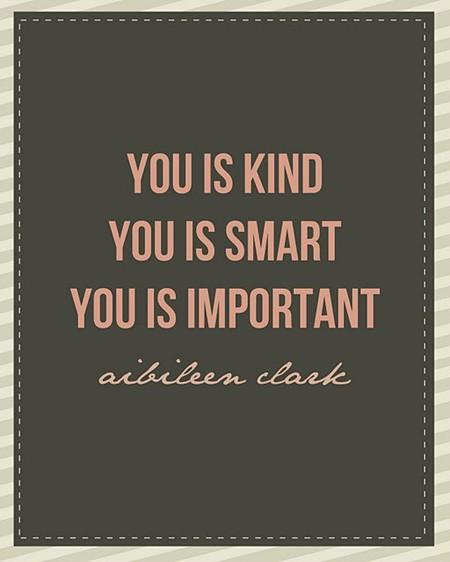 You is kind, you is smart, you is important. - Aibileen Clark