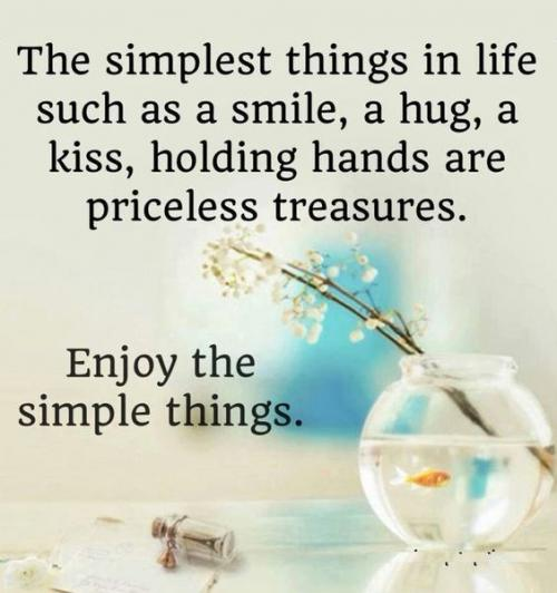 The simplest things in life such as a smile, a hug, a kiss, holding hands are priceless treasures. Enjoy the simple things.