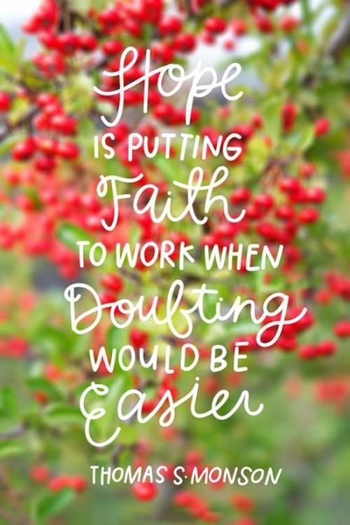 Hope is putting faith to work when doubting would be easier.