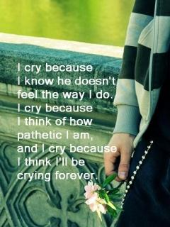 i Cry because I Know She Doesnt Feel The Way I Do I Cry Because I Think Of How Pathetic I Am And I Cry Because I Think I'll Be Crying Forever !!